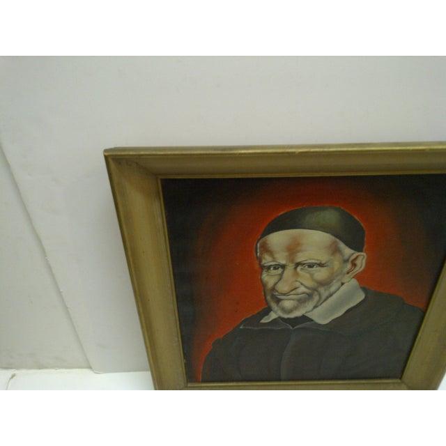 """Circa 1940 """"St Vincent De Paul"""" Original Painting on Canvas For Sale - Image 4 of 5"""
