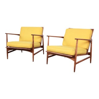 Ib Kofod-Larsen for Selig Danish Modern Sculpted Teak Lounge Chairs - a Pair For Sale