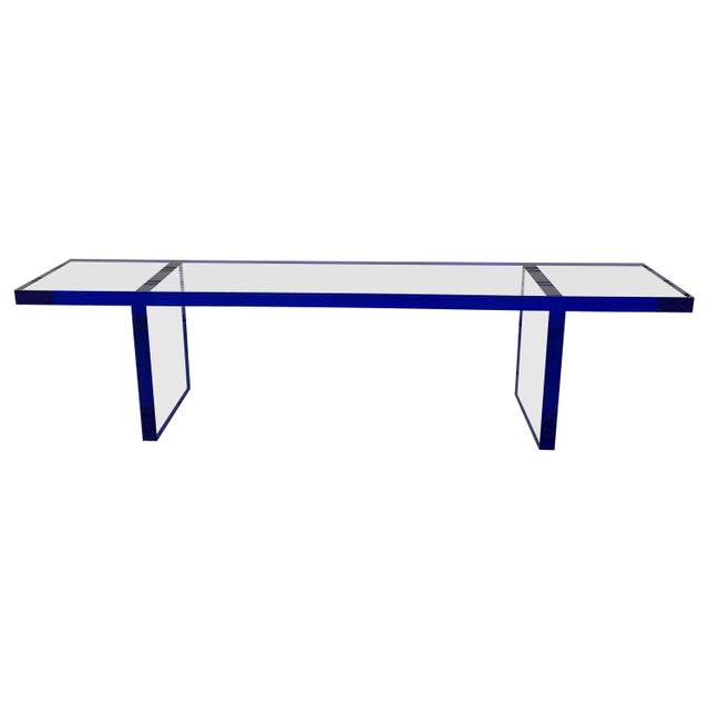 Custom Bench in Deep Blue and Clear Lucite by Cain Modern For Sale - Image 13 of 13