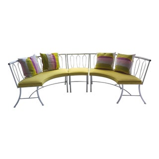 Vintage Modern Salterini Style Round Settee Chair and Table Base - Set of 5 For Sale