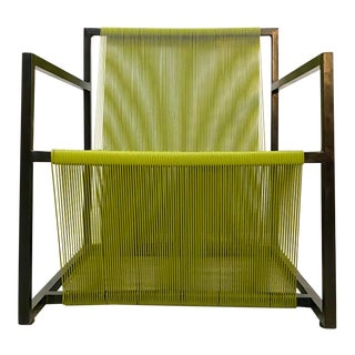 Mid Century Modern Style Iron and Vinyl Threaded Side Chair For Sale