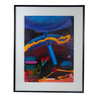1993 Signed Acrylic on Paper Abstract Painting by Thomas Gathman For Sale