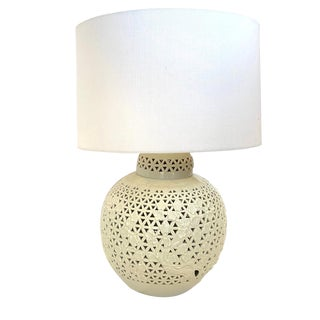 Vintage Fretwork Porcelain Lamp With Shade For Sale