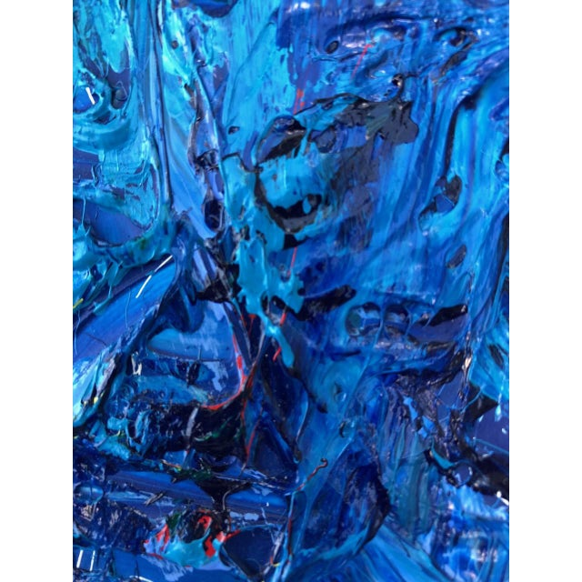 Blue Monochrome Abstraction Impasto Painting For Sale - Image 8 of 12