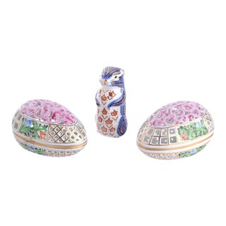 Herend Porcelain Openwork Piereced Egg Bon Bon Trinket Box & Royal Crown Derby Imari Chipmunk Paperweight - Set of 3 For Sale