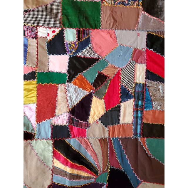 American Antique American Crazy Quilt, Patchwork of Geometric Colors For Sale - Image 3 of 11