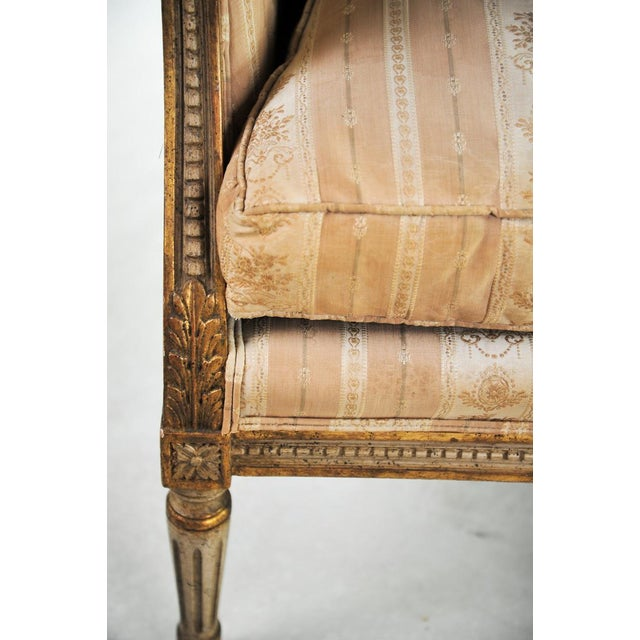Fabric Late 19th C. Louis XVI Style Distressed Settee For Sale - Image 7 of 11