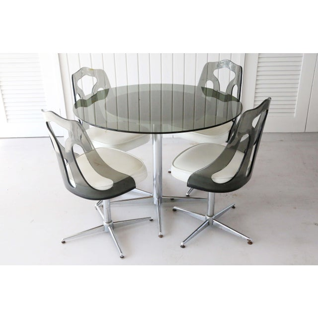 1970's Space Age Modern Smoked Lucite and Chrome Dining Set - 5 Pieces For Sale - Image 13 of 13