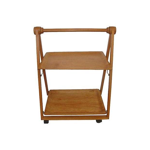 Danish Mid-Century Modern Folding Teak Bar Cart - Image 2 of 7
