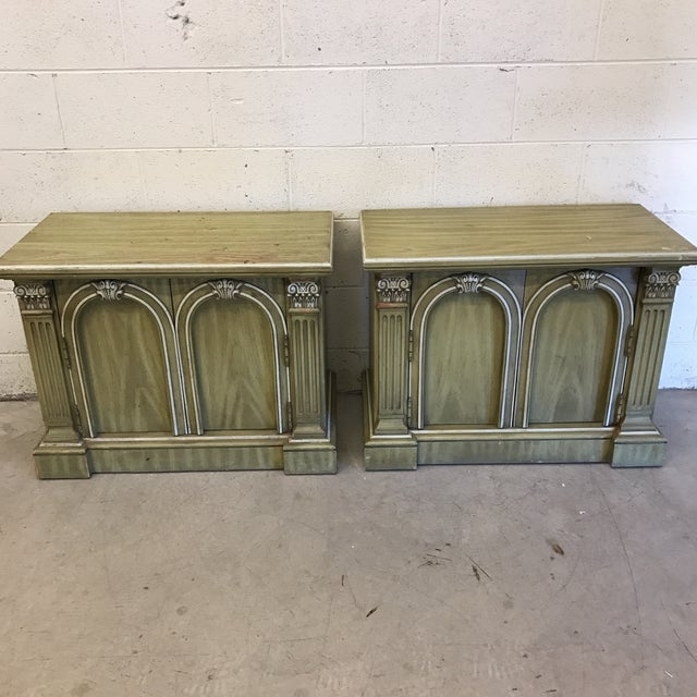 These nightstands have a neoclassical style look with their column accent fronts. Nice and solid, these remind me of...