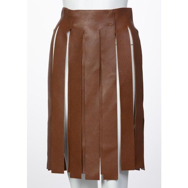 Prada Brown Pebbled Leather Fringe Waist Belt / Skirt Overlay For Sale In Miami - Image 6 of 6