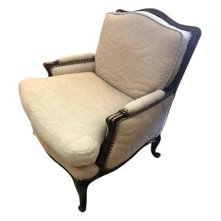 Carved Walnut French Style Club Chair With Quilted Upholstery For Sale