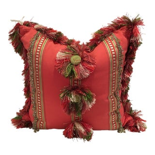 Coral & Green Beaded Fringe Custom Made Pillow For Sale