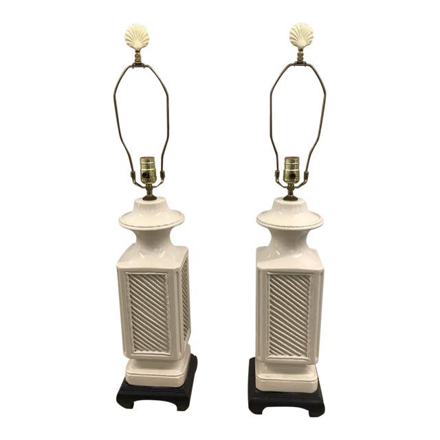 Vintage Italian White Ceramic Black Wood Scroll Base Lamps - a Pair For Sale