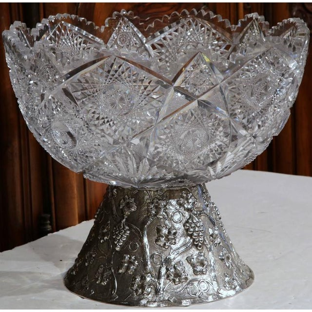 19th Century French Cut-Glass Punch Bowl With Silver Repousse Base For Sale In Dallas - Image 6 of 9
