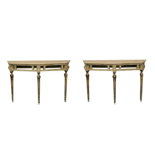 Italian Demilune Painted Tables - a Pair
