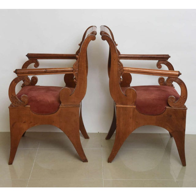 Neoclassical Set of Four Russian Neoclassic Mahogany Armchairs For Sale - Image 3 of 9