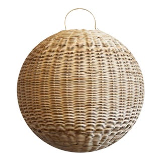 Raw Rattan Globe Lantern Large For Sale