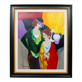 1970s Mid Century Modern Itzchak Tarkay Framed Acrylic on the State Original Painting For Sale