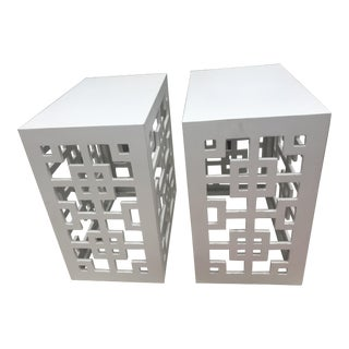 Fretwork White Lacquer End Tables - a Pair