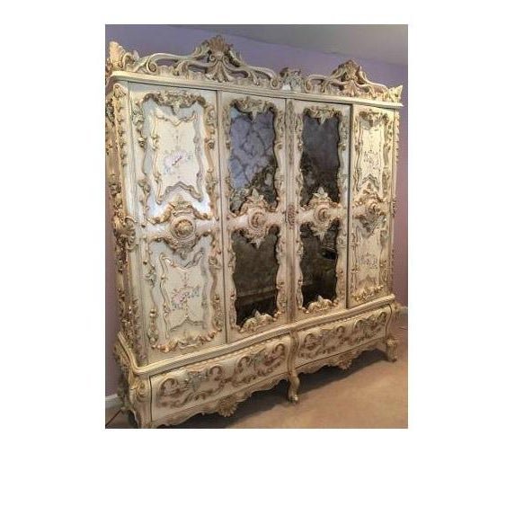 French Large Rare Romantic Antique Cream French Rococo Ornate Armoire Fancy Wardrobe W/ Mirrors For Sale - Image 3 of 9