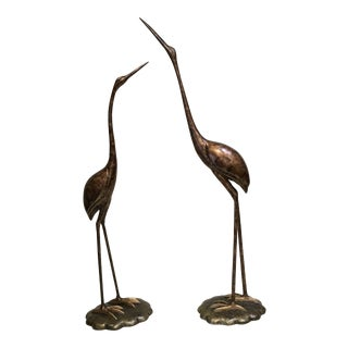 Asian Style Metal Cranes - a Pair For Sale