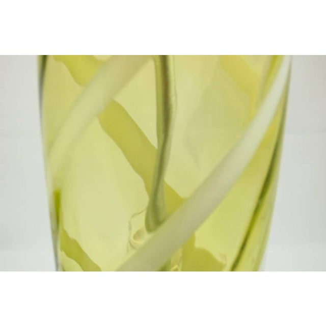Vintage Venetian Glass Table Lamps Yellow Green For Sale In Little Rock - Image 6 of 10