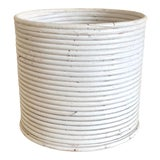 Image of White Pencil Reed Rattan Planter For Sale