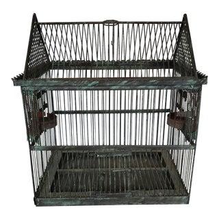 Vintage Verdigris Metal Birdcage For Sale