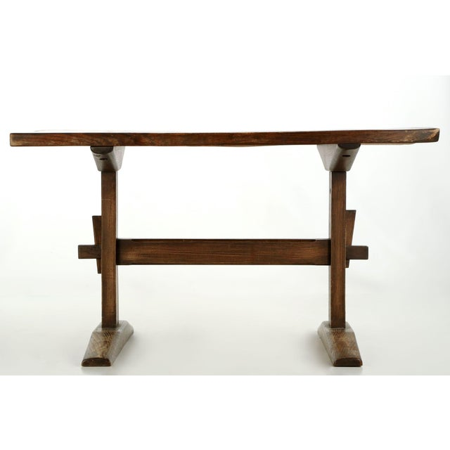 Arts & Crafts Solid Oak Trestle Writing Table - Image 4 of 10
