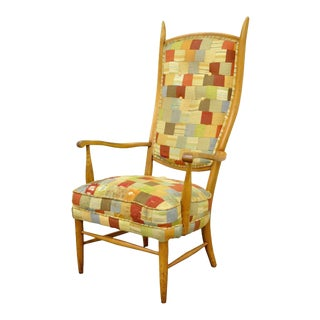 Vintage Mid Century Modern High Tall Back Maple Arm Chair Attr to Edward Wormley For Sale