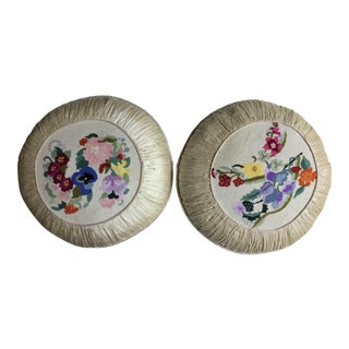 Floral Needlepoint Silk Pillows - a Pair