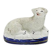 Antique English Staffordshire Lamb For Sale