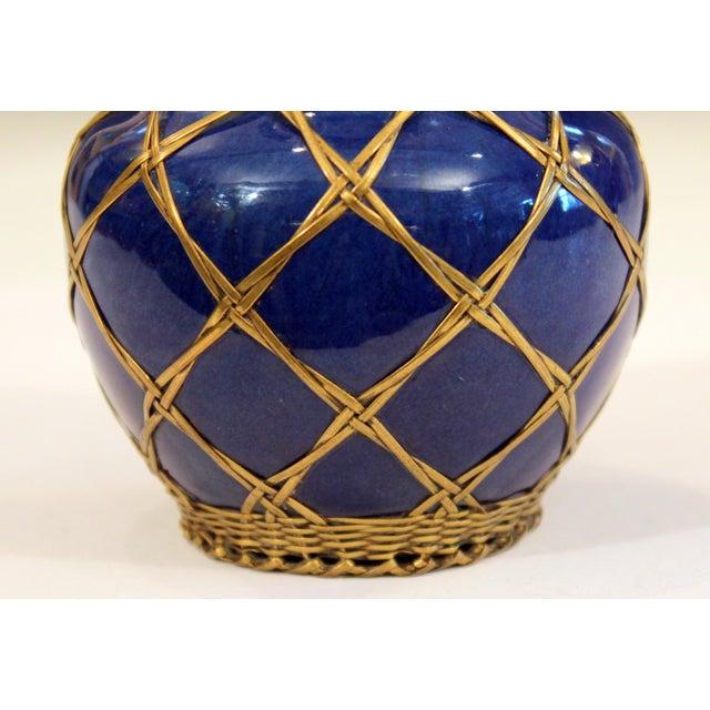 Antique Awaji Pottery Japanese Arts & Crafts Cup Brush Pot Jar Bronze Weave For Sale - Image 11 of 12
