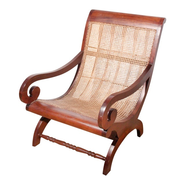 British Colonial Plantation Cane Chair For Sale