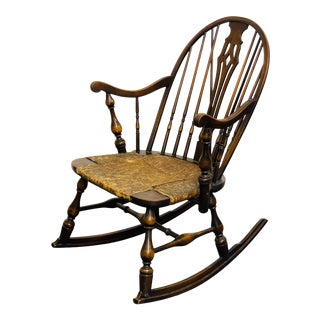 Antique 1800s Windsor Rocking Chair With Rush Seat For Sale