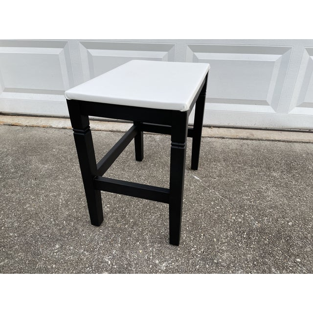 Wood 1980s Vinyl Leather Wrapped Top Side Table For Sale - Image 7 of 10