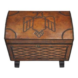Mid-20th Century Primitive Distressed Brown Leather Eagle Bird Storage Cabinet Trunk For Sale