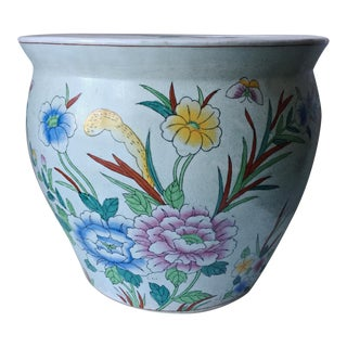 Vintage Chinoiserie Large Hand-Painted Planter