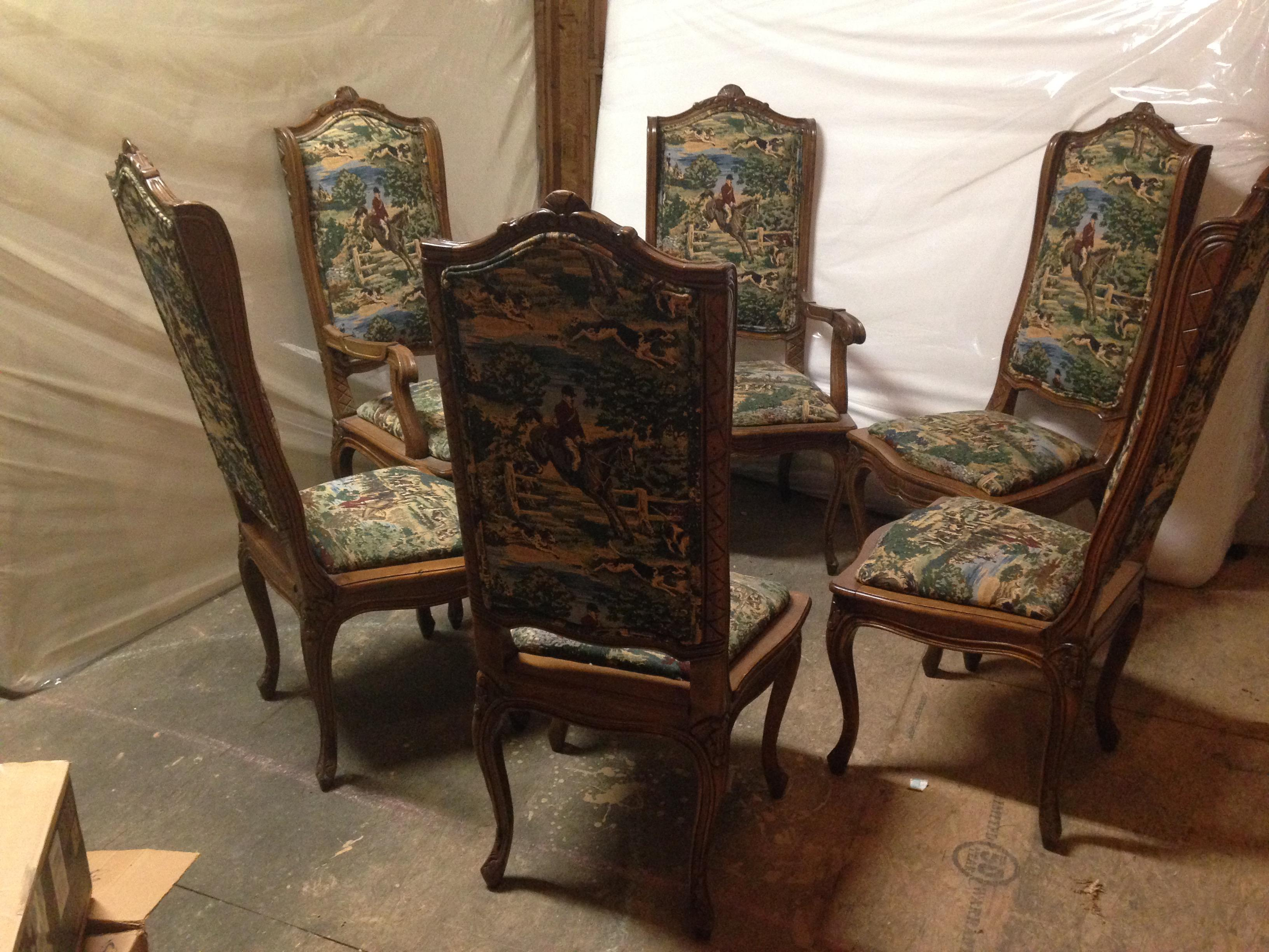 English Hunt Scene Tapestry Upholstered Dining Chairs   Set Of 6   Image 5  Of 13