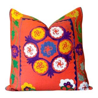19th Century Bostan Suzani Throw Pillow