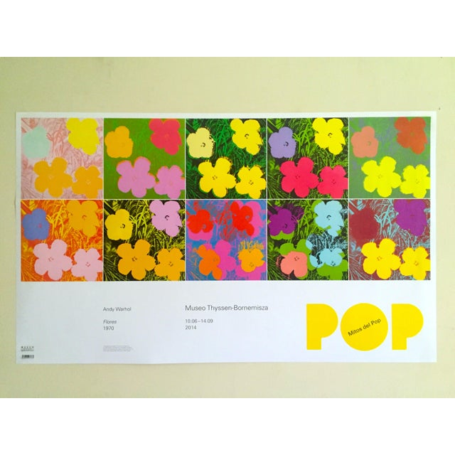 """Andy Warhol Foundation """" Myths of Pop """" Museo Thyssen Lithograph Print Pop Art Exhibition Poster """" Flowers """" 1970 For Sale - Image 12 of 13"""