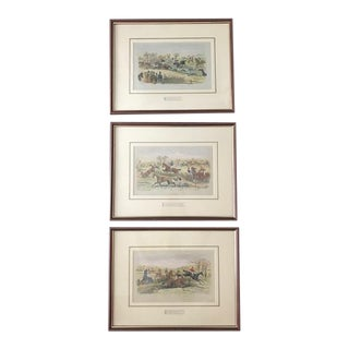 1905 Antique English Hunt Scene Drawings - Set of 3 For Sale