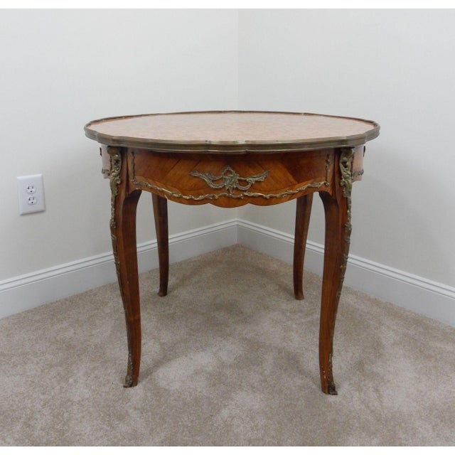 French Antique French Inlaid Marble Top Table For Sale - Image 3 of 11