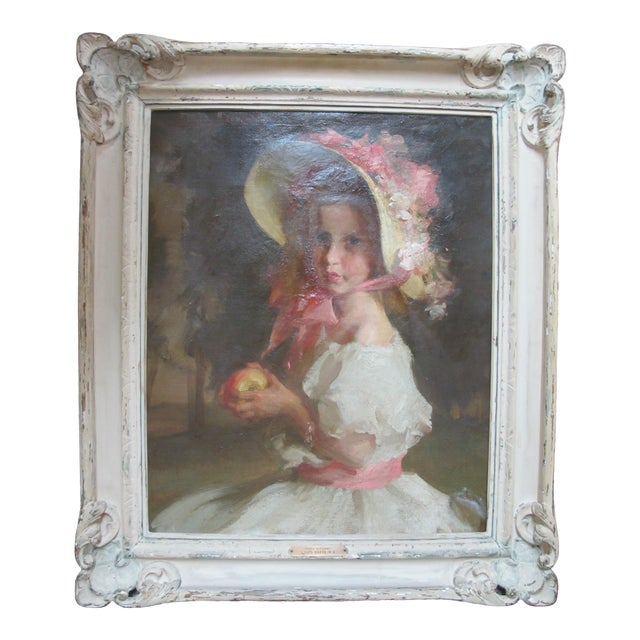 """Louis Betts Framed Young Girl """"Apple Blossoms"""" Portrait Oil Painting For Sale"""