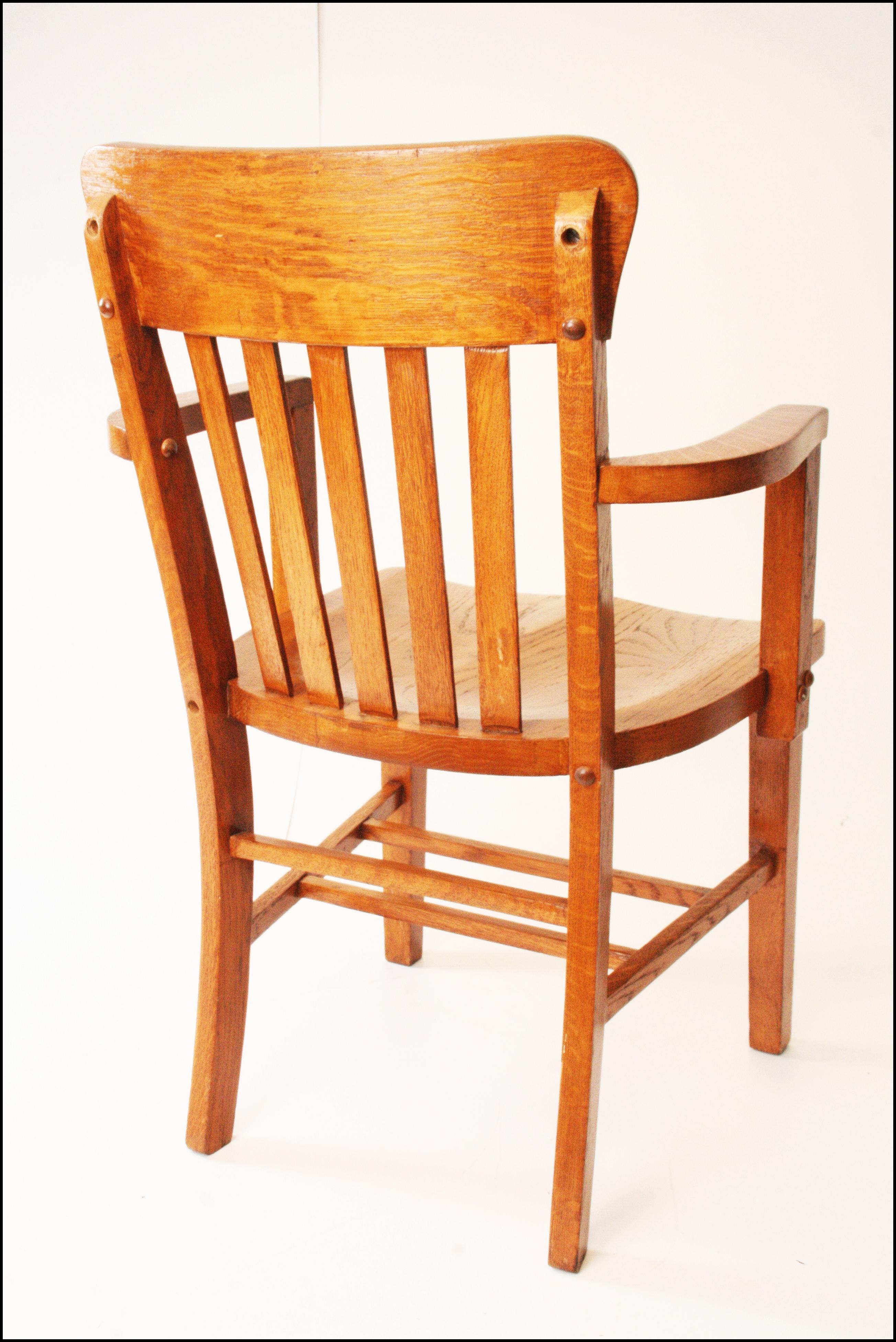 Industrial Heywood Wakefield Vintage Wood Banker Chair For Sale   Image 3  Of 11