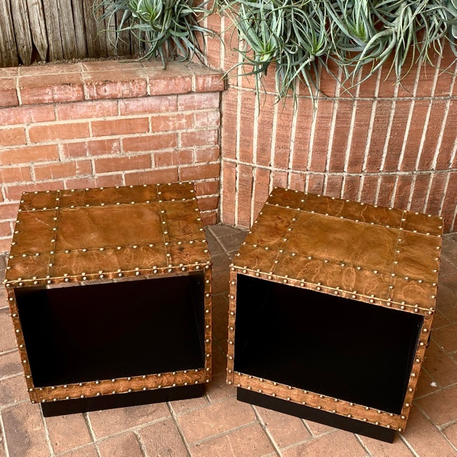 """Vintage Copper clad end table pair. Circa 1960. Copper, wood and lacquered metal handles. 20"""" w x 17"""" d x 20.5"""" h"""