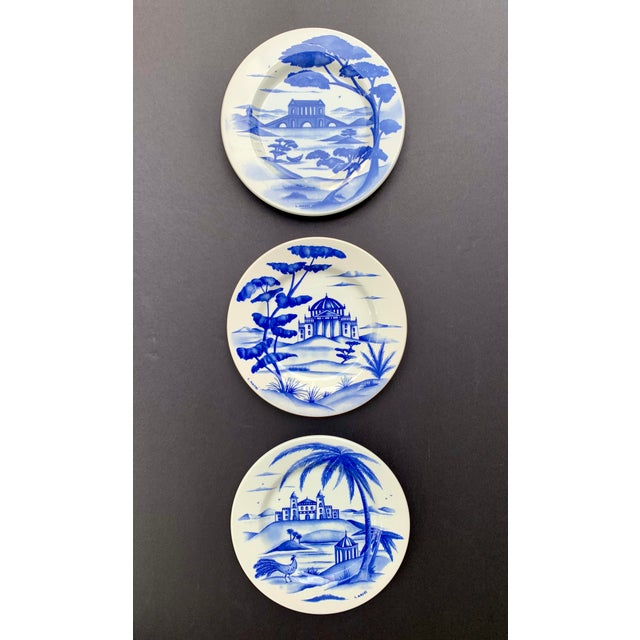 Hand-Painted Italian Ceramic Blue and White Plates - Set of 3 For Sale In Chicago - Image 6 of 12