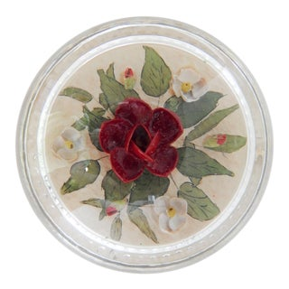 Vintage Glass Dome & Shell Flowers Paperweight For Sale