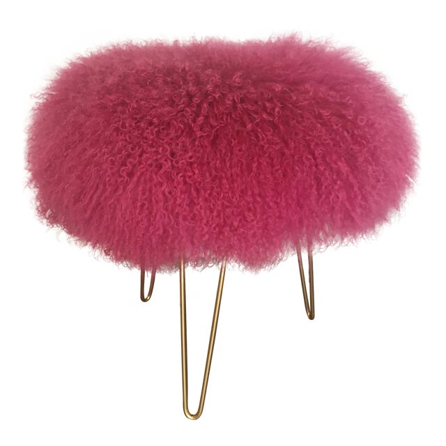 Hot Pink Mongolian Lamb Stool For Sale